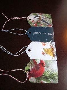 Handmade Gift Tags from Recycled Christmas Cards--not sure if I would want to cut up the cards, but maybe some day.