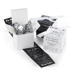 Reversible Announcement - Wrap Boxes - Black and White Extra! Read all about it! These white boxes with reversible black and white wraps that feature a newspaper announcement design are so fun for presenting special treats to guests. Wedding Invitation Kits, Wedding Party Favors, Wedding Reception Decorations, Wedding Stationery, Wedding Ideas, Wedding Blog, Wedding Planning, Just Engaged, Just Married