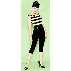 Black pants and striped shirt. P-R-E-T-T-Y!