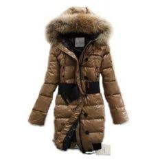 France Moncler Pop Star Down Long Khaki Coat Women On Sale