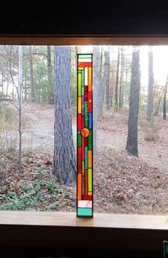 Stained Glass Window - stained glass panel - glass panel suncatcher - abstract glass design - red and blue glass - gift for her Stained Glass Designs, Stained Glass Panels, Stained Glass Patterns, Stained Glass Art, Mosaic Glass, Glass Center, Glass Company, Glass Flowers, Red Glass