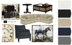 LR color scheme - navy, Khaki - instead of black furniture, i might bring in grey to pull in the kitchen island.