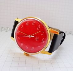 Red dial vintage soviet wristwatch Zaria Au10, vintage ussr mens wind up watchr
