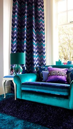 Bring the outdoors in with nature 39 s favourite colours - Teal and purple living room ...