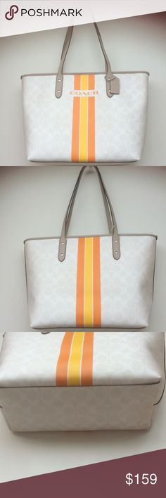 "NWT  COACH COH Varsity City Zip Tote ""Chalk/Orange"" coated canvas with taupe leather trim and silver tone hardware. 15 3/4"" L x 10 1/2"" H x 5 1/2"" D Coach Bags Totes"