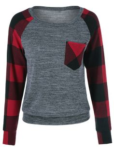 Only $7.73 for Plaid Patchwork Single Pocket Sweatshirt in Checked | Sammydress.com