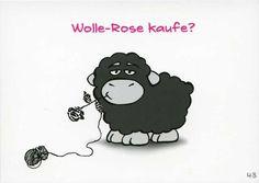 Olaf das Grummelschaf und Poppy Postkarte mit lustigen Sprüchen - Wolle-Rose kaufe? Postkarten Lustige Sprüche