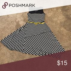Cute asymmetrical striped dress Like new. Nice a comfortable for summer. Cute yellow belt. Sizing tag says 4-6. 95% polyester 5% spandex George Dresses Asymmetrical