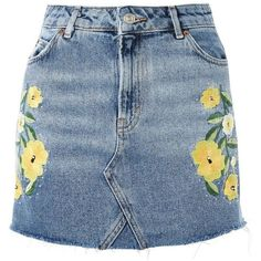 Topshop Moto Floral Stud Mini Skirt (44 PEN) ❤ liked on Polyvore featuring skirts, mini skirts, bottoms, denim, jupe, blue, mid stone, floral skirt, summer mini skirts and floral printed skirt
