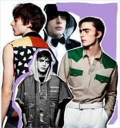 Above, from left: Lennon Gallagher wears top J.W. Anderson; shirt Maison Mihara Yasuhiro and t-shirt Y-3 (worn underneath); shirt and jeans AMI Alexandre Mattiusi.