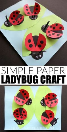 If you have ladybug fans in your home, they are going to adore making this simple paper ladybug craft. The fingerprint spots on the ladybug wings gives this fun spring craft a personal touch. Kids will adore how the wings pop off the page as if the ladybugs are in flight. This makes a fun insect craft for kids. #springcraftsforkids #ladybug #papercraft #papercrafting #insectcraftsforkids #bugcrafts #springcrafts #kidscraft #craftsforkids #iheartcraftythings