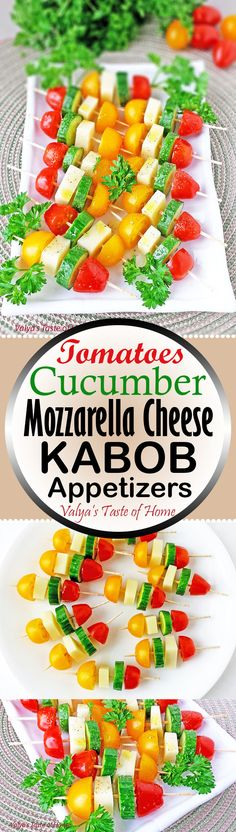 These delightful and healthy Tomatoes, Cucumber and Mozzarella Cheese Kabob Appetizers, drizzled in olive oil and sprinkled with seasoning are indescribably delicious no one will be able to resist! It's so easy and quick to make. Platter of these colorful and beautiful appetizers will decorate your holiday table. It can be made hours before a get together and refrigerated until you're ready to serve.