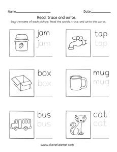 Three letter words tracing and writing printable sheets for preschool and kindergarten kids Kindergarten Writing, Kindergarten Worksheets, Word Family List, Cvc Worksheets, Three Letter Words, Tracing Letters, Letter Sounds, Word Families, Phonics