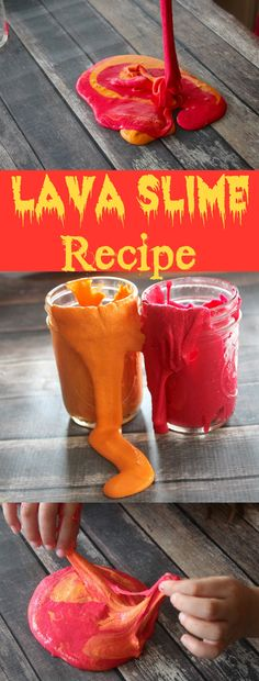 Make your own LAVA SLIME! How COOL is this lava slime recipe?! Who would have thought to use paint? Perfect for dinosaur or Minecraft parties, summer camp, sensory play, science lessons and more!  What an awesome idea!