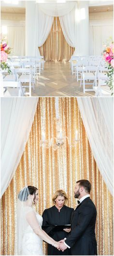Glamorous indoor wedding ceremony decor, gold glitter backdrop, chandelier, white chairs, white drapery // Second to Nunn Photo