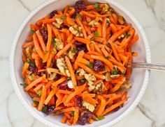 Carrot Slaw w/ Cranberries, Toasted Walnuts & Citrus Vinaigrette!!