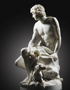 Barthélémy Blaise, 1738-1819 Jeune Berger ou Adonis. AN IMPORTANT FRENCH MARBLE FIGURE OF ADONIS OR A YOUNG SHEPHERD, BY BARTHÉLÉMY BLAISE, SIGNED AND DATED 1785, en marbre blanc. Haut. 81 cm