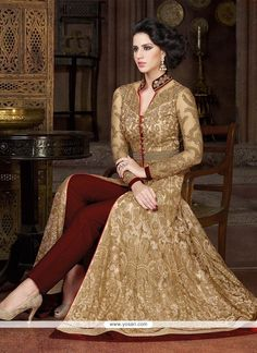 Deserving Embroidered Work Beige Pant Style Suit Model: YOS7074