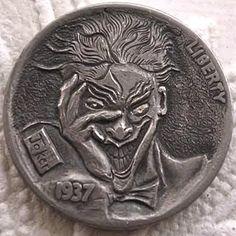 FINN LaRUE HOBO NICKEL - JOKER - 1937 BUFFALO NICKEL Pewter Art, Hobo Nickel, Coin Art, Antique Coins, Old Money, Rare Coins, Coin Collecting, Hand Engraving, Gold Coins
