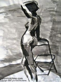 Print Female figure drawing in ink large by LynnHutchinsFineArt, $25.00