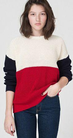 Red Contrast Black Long Sleeve Sweater - Sheinside.com