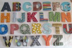 Fabric Letter Set for Boys  Handmade  Alphabet by CrunchyFarmBaby