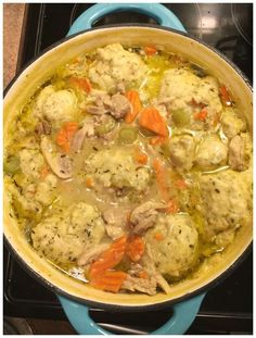This recipe makes a huge pot of Homemade Chicken and Dumplings from Scratch (Seriously one of the best recipes I've ever tried!) iSaveA2Z.com