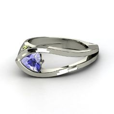 Trio Profile Ring, Trillion Tanzanite  Sterling Silver Ring with Green Tourmaline from Gemvara