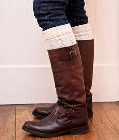 Cut old sweater arms to make non bunchy leg warmers that peek out the tops of boots! MUST REMEMBER