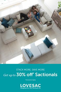 Get up to 30% off Sactionals this President's Day. 36 month financing available.