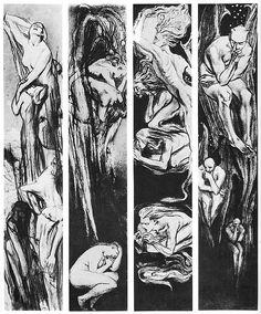 "Stanisław Wyspiański, ""Four Elements"", Alternative Names, Art Nouveau Illustration, Austro Hungarian, Plant Drawing, Pastel Drawing, Art And Architecture, Art Forms, Graphic Art, Fine Art"