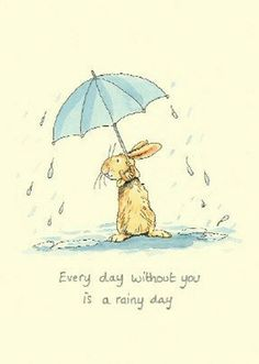 Anita Jeram Illustration - rabbit - Every day without you is a rainy day Art And Illustration, Animal Illustrations, Anita Jeram, Rabbit Art, Bunny Art, Whimsical Art, Cute Drawings, Cute Art, Illustrators