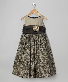 Take a look at this Olive & Khaki Rose A-Line Dress - Toddler & Girls on zulily today!