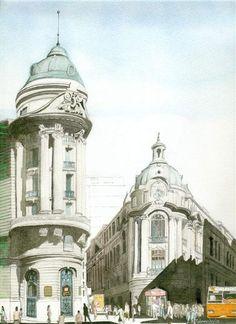 Centro bancario, Santiago de Chile. Carlos Calvimontes Rojas