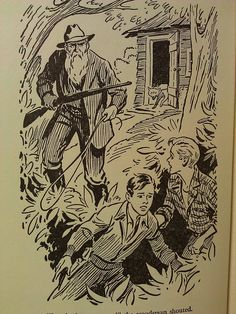Hardy Boys Book interior illustration - The Wailing Siren Mystery. It is possible that William Gillies also did the illustration on the inside