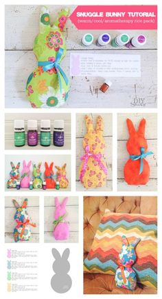 Snuggle Bunnies Tutorial - DIY warm/cool/aromatherapy with essential oils) rice packs  @diyshowoff