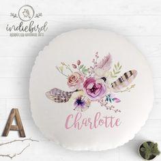 Personalised Boho Flower Cushion Personalised Cushions, Personalised Gifts, Unique Gifts, Decorative Plates, Feather, Boho, Flowers, Handmade, Home Decor