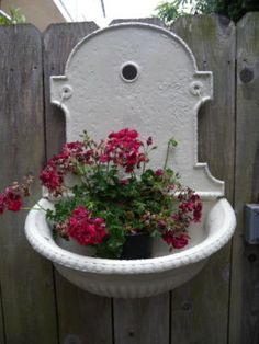 Antique 19th C. French Iron Lavabo Wall Fountain ~ would love for the garden wall