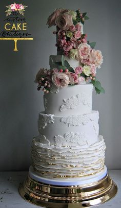 Featured Cake: The Custom Cake Boutique; Wedding cake idea.