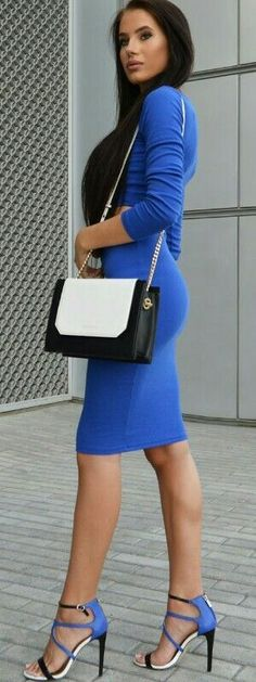 Blue dress and color strap block heels   street ch...