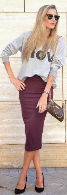 #midi #skirt And #sweatshirt by By My Heels