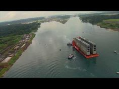 The new mega doors of the #PanamaCanal expansion arrive! Watch the arrival of the new Panama Canal Miter Gates from above.