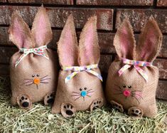 Handmade Burlap Bunny / Easter Bunny / Easter decor / Spring decor / Stuffed Bunny / Easter Basket gift