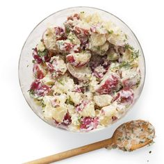 Using high-protein, low-fat buttermilk makes this potato salad taste richer than it is. Leaving the skins on the potatoes means more fiber and flavor.