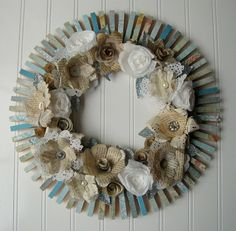 Clothespin Wreath Cream handmade paper flowers roses Jane Austen French text Aqua and vintage maps. $70.00, via Etsy.
