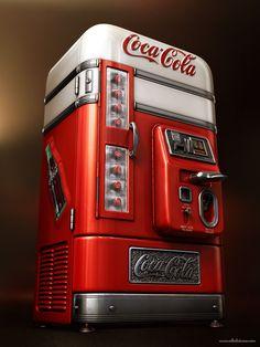 Coke Machine by Estdio cone , via Behance Art And Illustration, Soda Machines, Vending Machines, Coke Machine, Surface Modeling, Always Coca Cola, Vintage Coke, Displays, Modelos 3d