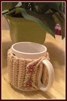 Cute gingerbread man mug cozy