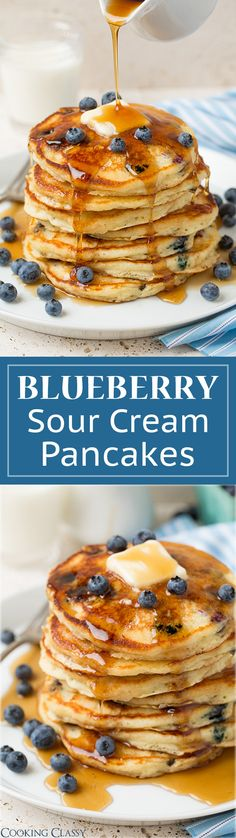 Blueberry Sour Cream Pancakes - These pancakes are DREAMY! Fluffy, soft, buttery and packed with fresh blueberries. A family fav!!