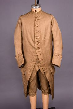 Gents 3 Piece Striped Silk Suit, 1760-1780