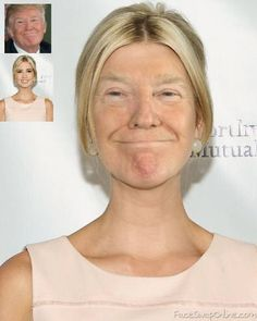 Edit images for free using the online compositor. Take Ivanka's twin we never see as a template or generate your own. Funny Face Swap, Face Swaps, Cebu, Ivanka Trump, Caricatures, Food Network, I Laughed, Donald Trump, Twins